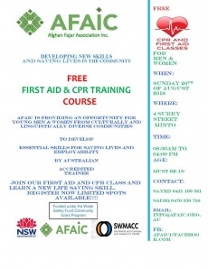 FREE FIRST AID & CPR TRAINING   COURSE