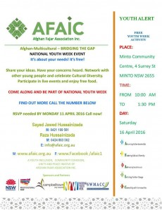 Afghan Multicultural - Bridging the Gap National Youth Week Event