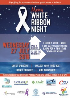 "Join Afghan Fajar Association Inc.Men's White Ribbon Evening ""Having a Night in to get the Word Out"""